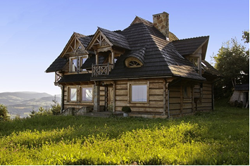 A rustic cottage in the countryside.