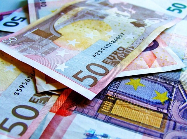 Pile of fifty euro Banknotes